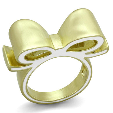 LO3600 - Gold & Brush Brass Ring with Epoxy  in White