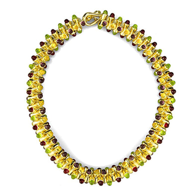 LO3610 Gold Brass Necklace with Synthetic in Multi Color