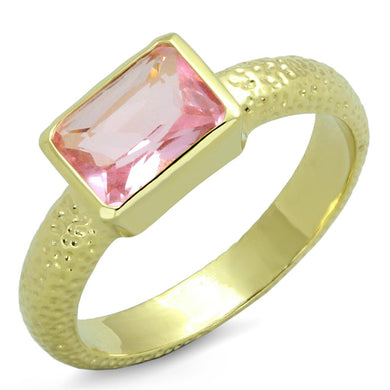LO3638 - Gold Brass Ring with Synthetic Synthetic Glass in Rose