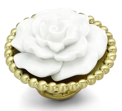 LO3660 - Gold & Brush Brass Ring with Synthetic Synthetic Stone in White
