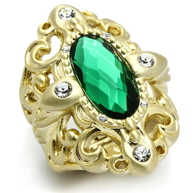 LO3665 - Gold & Brush Brass Ring with Synthetic Synthetic Glass in Emerald