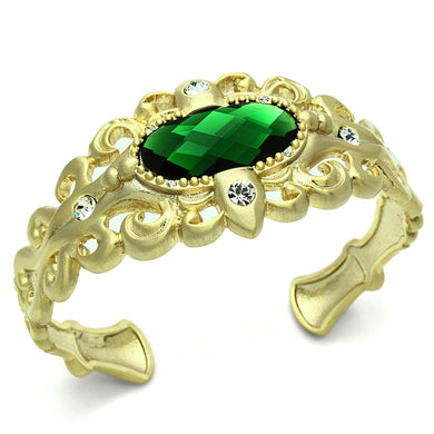 LO3666 - Gold & Brush Brass Bangle with Synthetic Synthetic Glass in Emerald