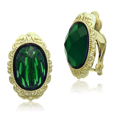 LO3668 - Gold & Brush Brass Earrings with Synthetic Synthetic Stone in Emerald