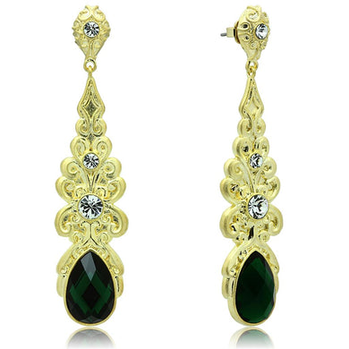 LO3669 - Gold & Brush Brass Earrings with Synthetic Synthetic Glass in Emerald