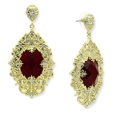 LO3673 - Gold & Brush Brass Earrings with Synthetic Synthetic Glass in Siam