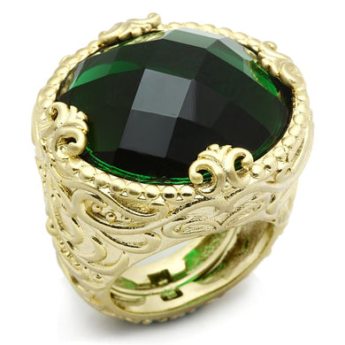 LO3675 - Gold & Brush Brass Ring with Synthetic Synthetic Glass in Emerald