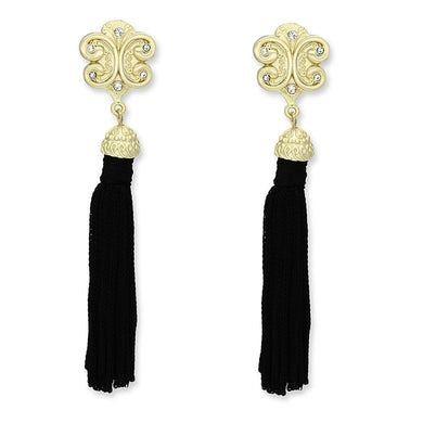 LO3677 - Gold & Brush Brass Earrings with Top Grade Crystal  in Clear