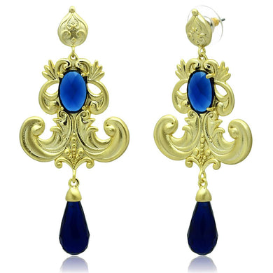 LO3680 - Gold & Brush Brass Earrings with Synthetic Synthetic Glass in Montana