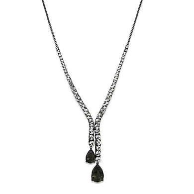 LO3690 - Ruthenium Brass Necklace with Synthetic Synthetic Glass in Black Diamond