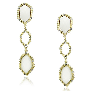 LO3692 - Gold & Brush Brass Earrings with Synthetic Synthetic Stone in Clear