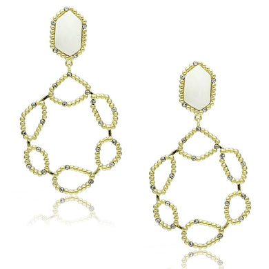 LO3693 - Gold & Brush Brass Earrings with Synthetic Synthetic Stone in White