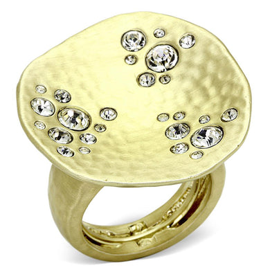 LO3694 - Gold & Brush Brass Ring with Top Grade Crystal  in Clear