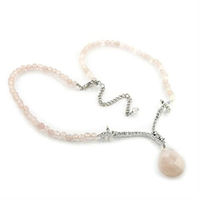 LO370 - Silver Brass Chain Pendant with Precious Stone PINK CRYSTAL in Light Rose