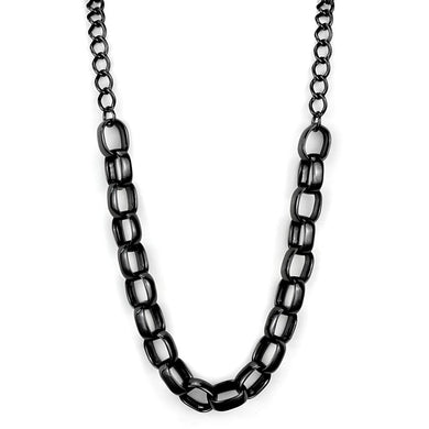 LO3723 - TIN Cobalt Black Brass Necklace with No Stone