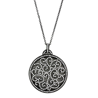 LO3724 - TIN Cobalt Black Brass Chain Pendant with Top Grade Crystal  in Clear