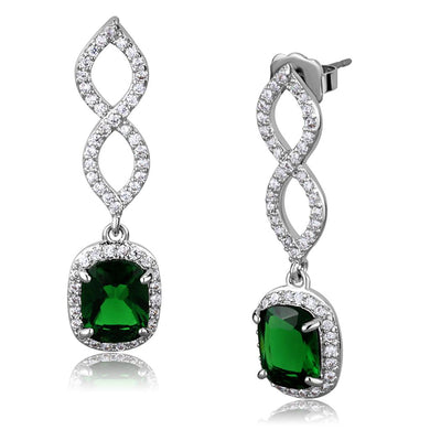 LO3761 - Rhodium Brass Earrings with Synthetic Synthetic Glass in Emerald
