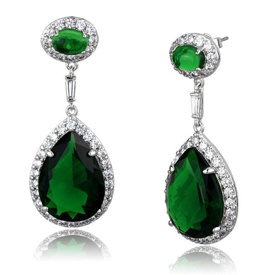 LO3762 - Rhodium Brass Earrings with Synthetic Synthetic Glass in Emerald