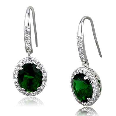 LO3769 - Rhodium Brass Earrings with Synthetic Synthetic Glass in Emerald