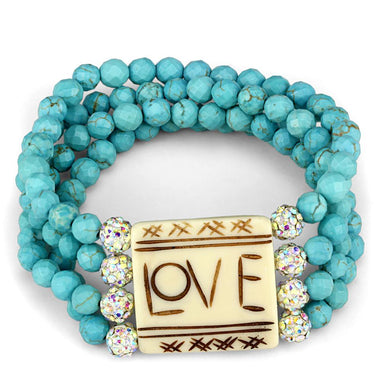 LO3799 - No Plating Brass Bracelet with Synthetic Glass Bead in Sea Blue