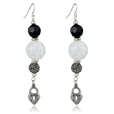LO3800 - Antique Silver White Metal Earrings with Synthetic Synthetic Glass in Jet