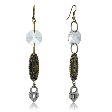 LO3801 - Gold+Antique Silver White Metal Earrings with Synthetic Synthetic Glass in Clear