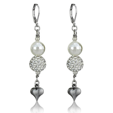 LO3804 - Antique Silver White Metal Earrings with Synthetic Glass Bead in White