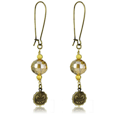 LO3806 - Antique Copper White Metal Earrings with Synthetic Glass Bead in Champagne