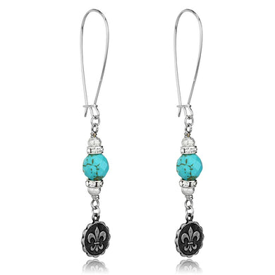 LO3807 - Antique Silver White Metal Earrings with Synthetic Turquoise in Turquoise