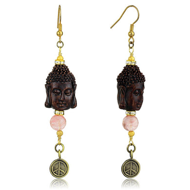 LO3808 - Antique Copper White Metal Earrings with Synthetic Glass Bead in Rose