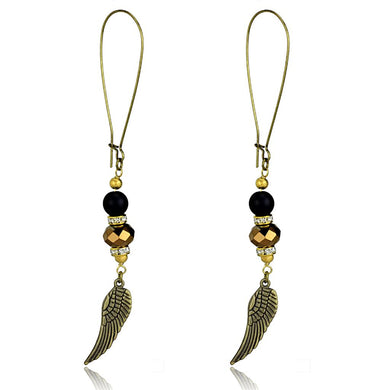 LO3809 - Antique Copper White Metal Earrings with Synthetic Synthetic Stone in Multi Color