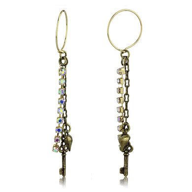 LO3810 - Antique Copper White Metal Earrings with Top Grade Crystal  in White AB