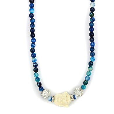 LO3813 Antique Silver Brass Necklace with Synthetic in Multi Color