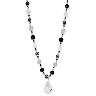 LO3817 - Antique Silver White Metal Necklace with Synthetic Synthetic Glass in Clear