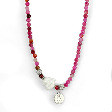 LO3822 - Antique Silver White Metal Necklace with Synthetic Glass Bead in Multi Color