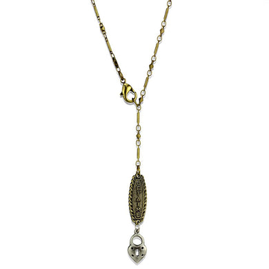 LO3823 - Gold+Antique Silver White Metal Chain Pendant with No Stone