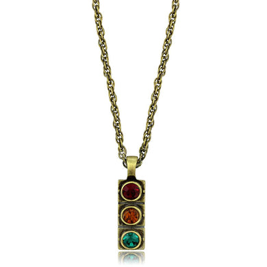 LO3836 - Antique Copper Brass Chain Pendant with Top Grade Crystal  in Multi Color