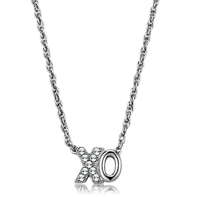 LO3845 - Rhodium Brass Necklace with Top Grade Crystal  in Clear