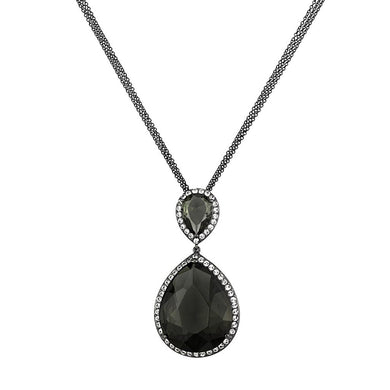 LO3847 - TIN Cobalt Black Brass Chain Pendant with Synthetic Synthetic Glass in Black Diamond