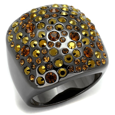 LO3909 - TIN Cobalt Black Brass Ring with Top Grade Crystal  in Multi Color