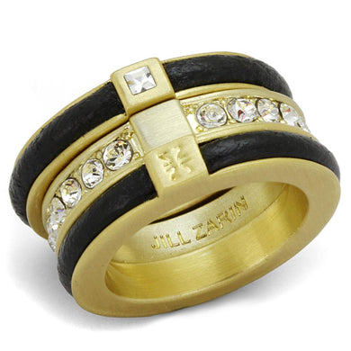 LO3923 - Gold & Brush Brass Ring with Top Grade Crystal  in Clear