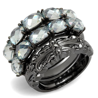 LO3928 - TIN Cobalt Black Brass Ring with Top Grade Crystal  in Black Diamond