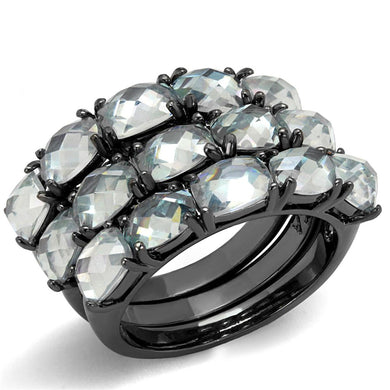 LO3929 - TIN Cobalt Black Brass Ring with Top Grade Crystal  in Black Diamond