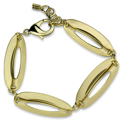 LO3941 - Gold & Brush Brass Bracelet with No Stone