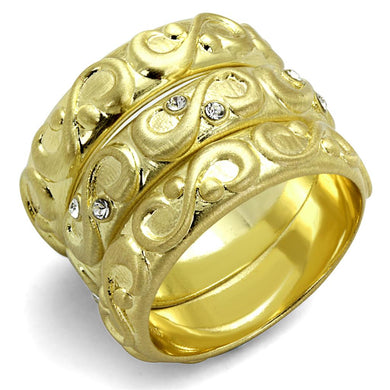 LO3946 - Gold & Brush Brass Ring with Top Grade Crystal  in Clear