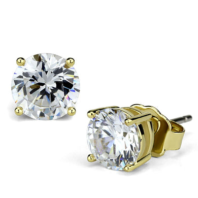 LO3957 - Gold Brass Earrings with AAA Grade CZ  in Clear