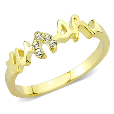 LO3966 - Flash Gold Brass Ring with Top Grade Crystal  in Clear