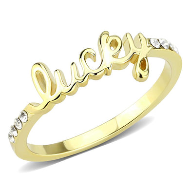 LO3971 - Flash Gold Brass Ring with Top Grade Crystal  in Clear