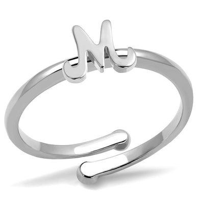 LO3993 - Rhodium Brass Ring with No Stone