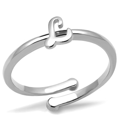 LO3997 - Rhodium Brass Ring with No Stone