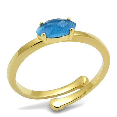 LO4064 - Flash Gold Brass Ring with Synthetic Cat Eye in Capri Blue